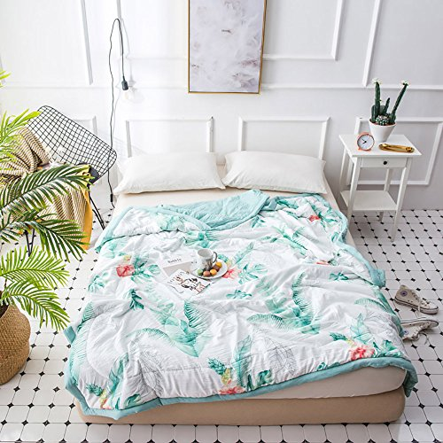 MKXI Thin Comforter Tropical Palm Tree Leaves Print Hawaii Style Summer Bed Quilt Twin Size For Boys Girls Kids Washed Cotton Lightweight Blanket Reversible Solid Green by MKXI