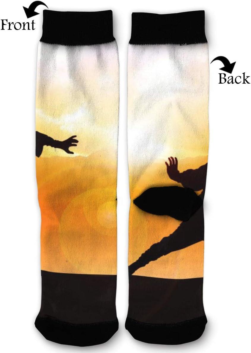 BLongTai Knee High Compression Socks Karate Silhouette for Women and Men Sport Crew Tube Socks