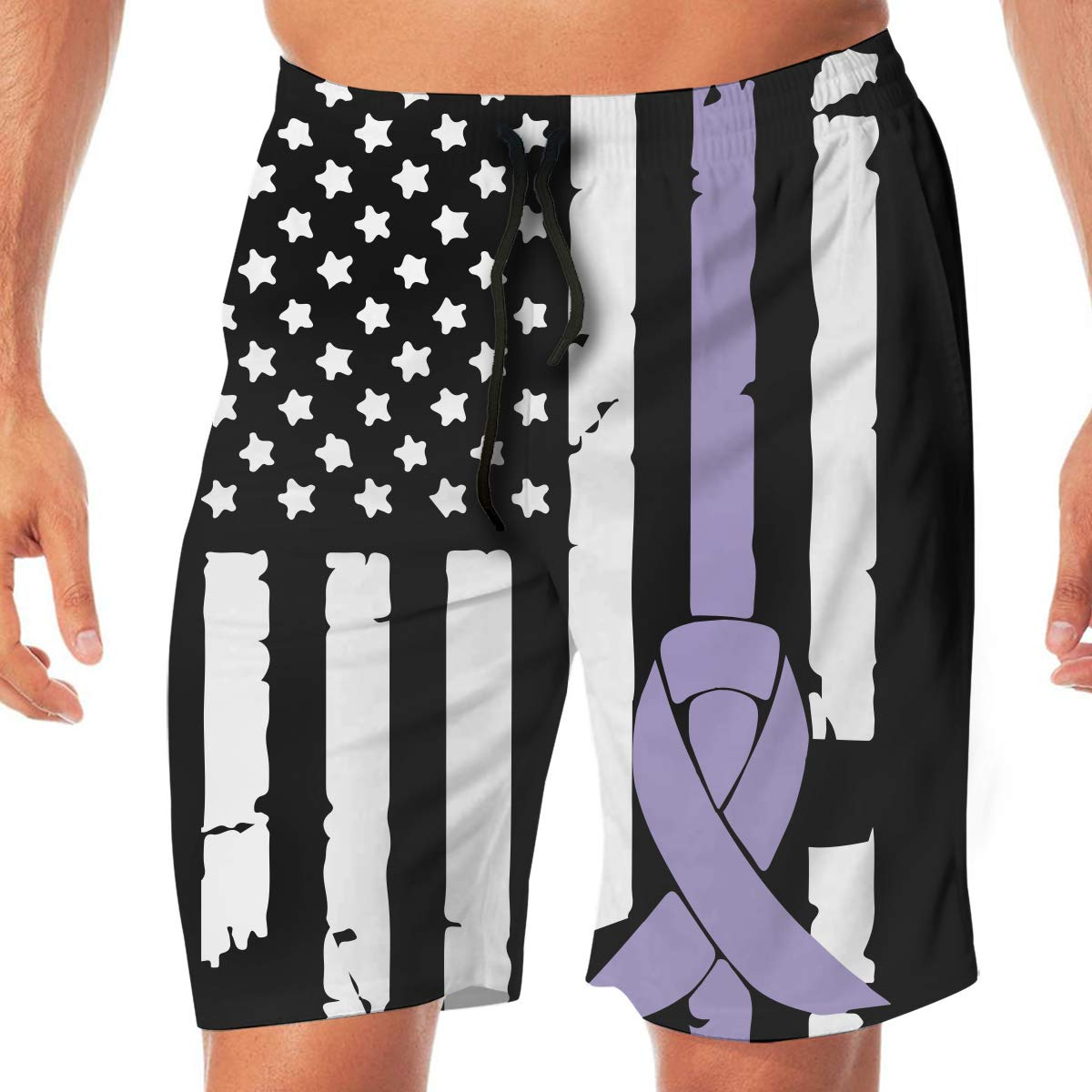 YGE.I.L25 Mens Surfing Boardshorts Testicular Cancer Awareness USA Flag-1 Summer Vacation Beach Board Short with Pocket