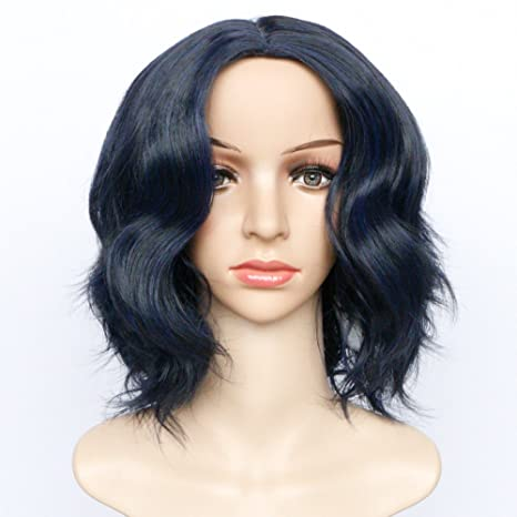 PUDDING Sra Parrafo Corto Chinos Punto Medio Peinado Alambre De Alta Temperatura Fibra Química Azul Negro