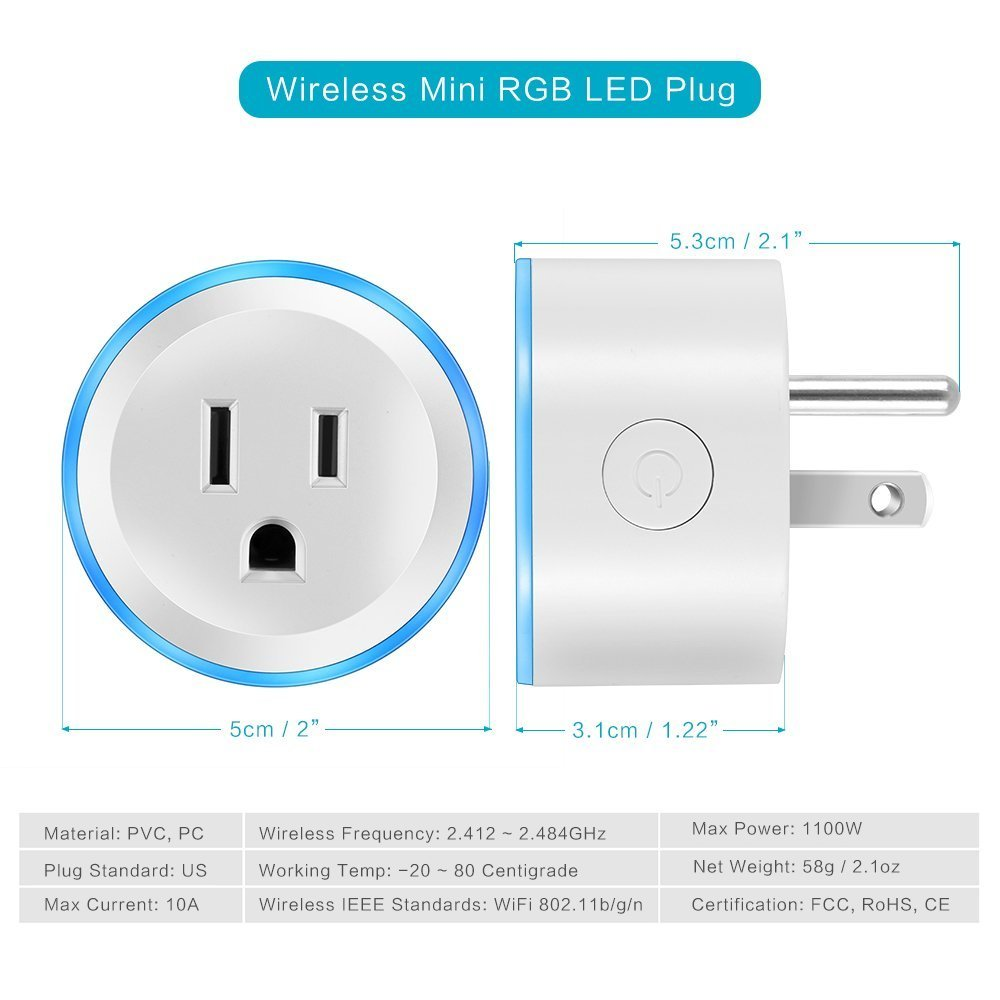 Alquar Wifi Smart Plug, Work With Alexa Google Home,with Ambient LED Night Light, Compatible With Voice Activated Devices Echo Dot Accessoires,Remote Mini Outlet Multi-function Socket Swtich by Alquar (Image #2)