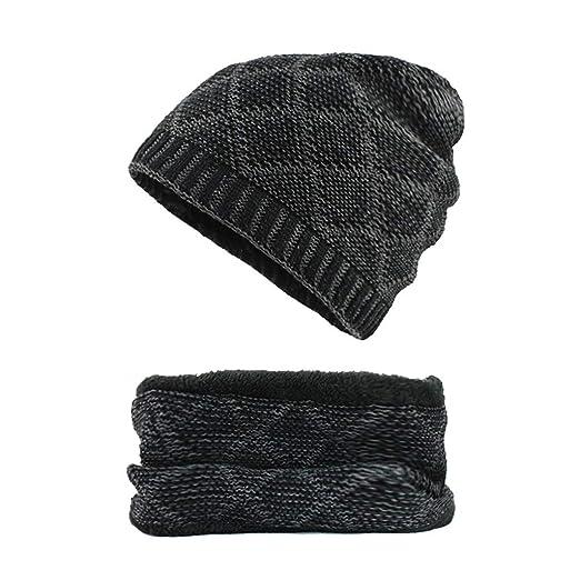 8d6819359e8 Alimao Fashion Man Women 2019 New 2-Pieces Villus Thicker Winter Beanie Hat  Scarf SetKnit