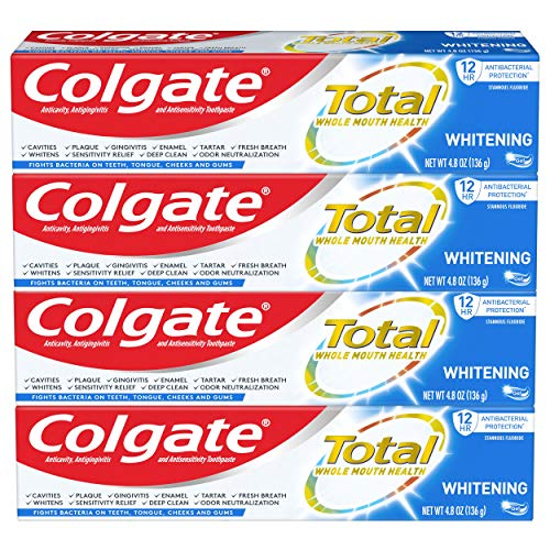 Colgate Total Whitening Toothpaste Gel with Stannous Fluoride and Zinc, Whitening Mint – 4.8 Ounce (4 Pack)