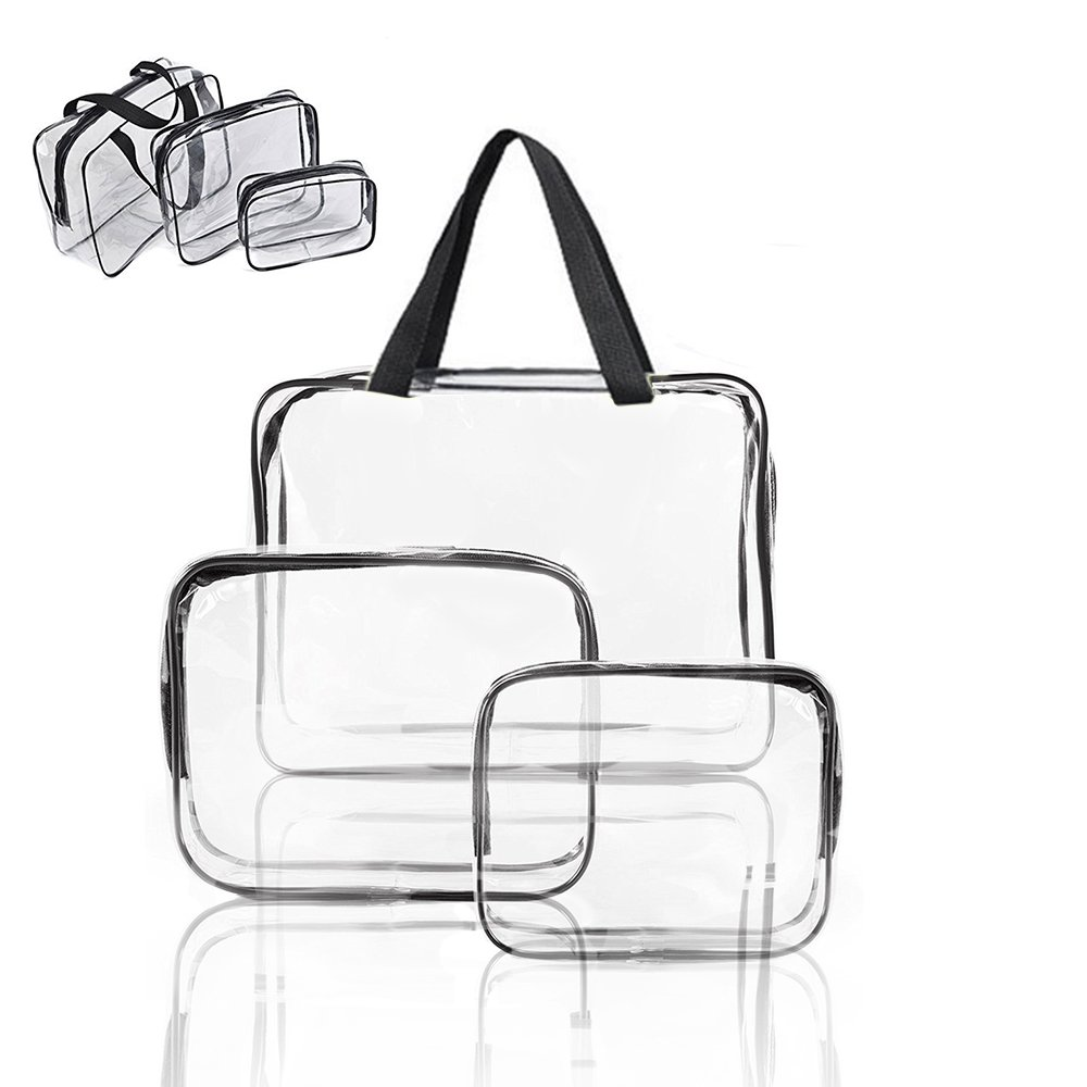 Galwad ®3 Pack Clear PVC Vinyl Zippered Luggage Toiletry Carry Pouch Travel Cosmetic Makeup Bag Clear Bag (Clear/Black)