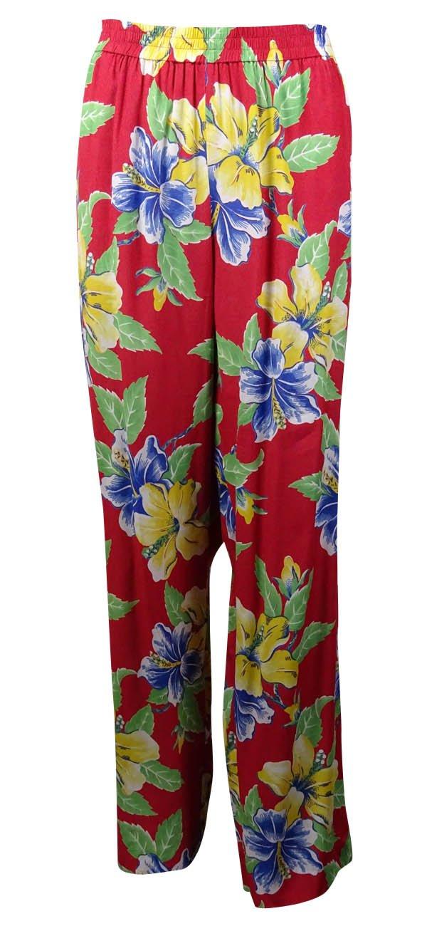 RALPH LAUREN Polo Women's Floral Print Woven Pants (12, O'ahu Red)
