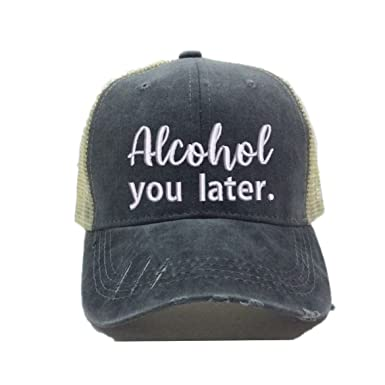 Men Women s Custom Trucker Hats Alcohol You Later Beer Drinking Distressed  Ball Cap (Black  d01acbb4b