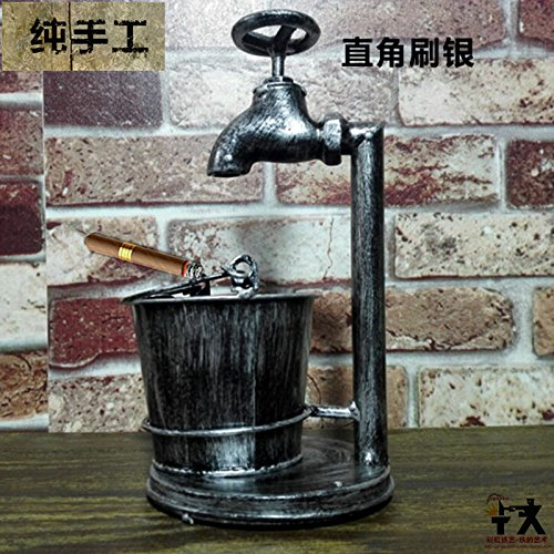 Znzbzt Stylish retro bar ashtray creative personality trend large smoking pot to a friend birthday gift ashtray, right-angled brush silver