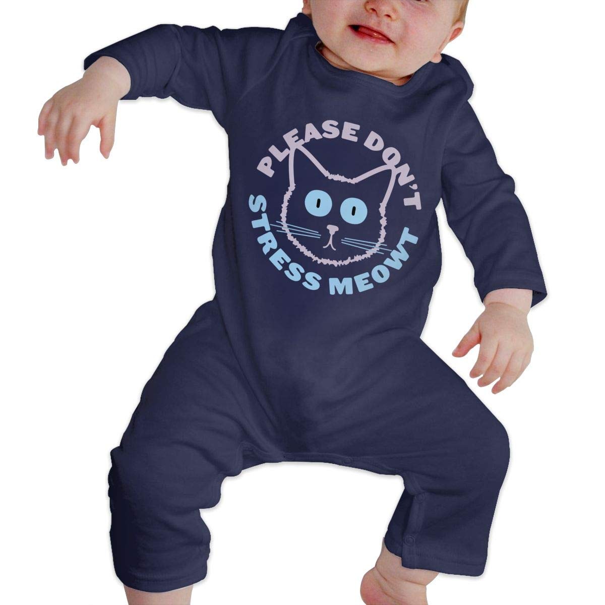 Mri-le1 Baby Girls Long Sleeve Jumpsuit Please Dont Stress Meowt Toddler Jumpsuit