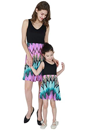 YMING Mother or Daughter Me Summer Floral Sundress Beach Dress(Black Flower 3fb8ed3b098c