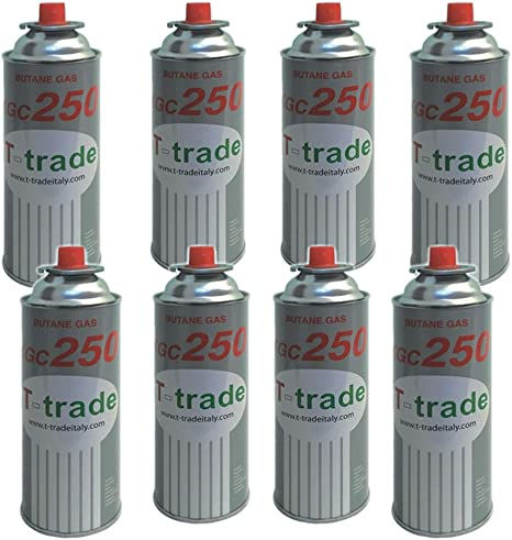 AZIMUTHBRICO Botes Gas Butano Multipack 8 Piezas 250 g Fornelli Camping Casa