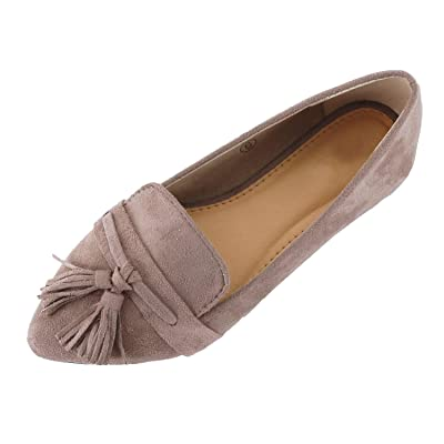 Guilty Heart   Women's Tassel Slip On Comfortable Pointy Toe Oxford Loafer   Faux Suede Espadrille Casual Flats   Loafers & Slip-Ons