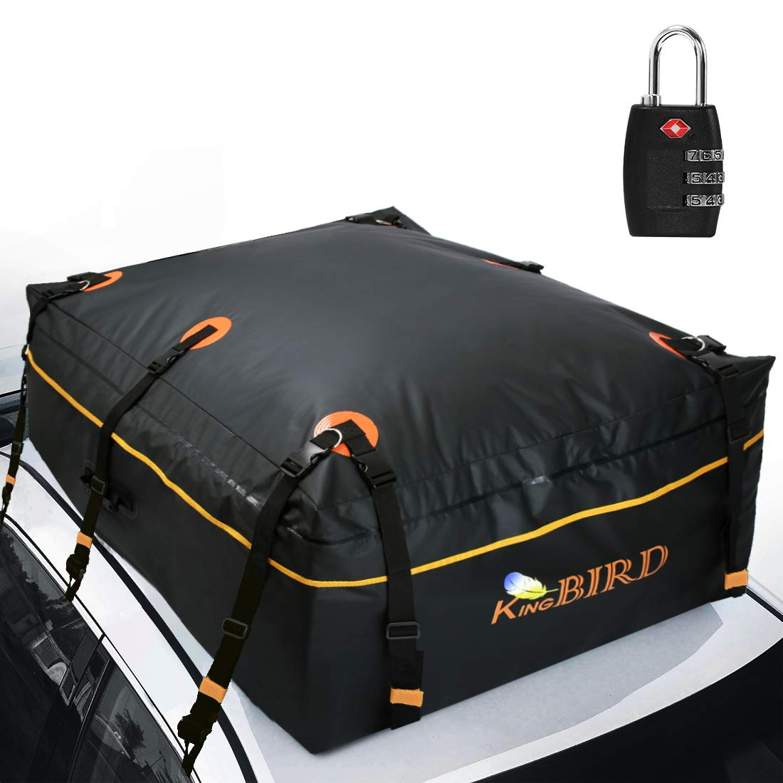 KING BIRD 2019 Upgraded 100% Waterproof Roof Bag with External Non-Slip Mats, 20 Cubic Feet Heavy Duty Car Top Cargo Carrier with Built-in Protective Mat Fits All Cars with/Without Rack by KING BIRD