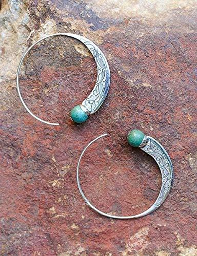 (ZHNA New Retro Thai Silver Turquoise Earrings European and American Female Punk Earrings Earrings Hook Multi-Color one Size)