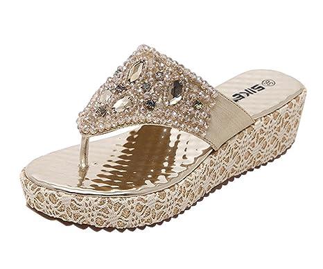 new style ee9e5 be5b5 Minetom Damen Mode Sandalen Faux Strass Perlen Flip Flops Sommer Pantoffeln  Mit Keilabsatz
