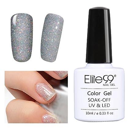 Laca de uñas de secado con lámpara UV o LED de Elite99, con brillantina en