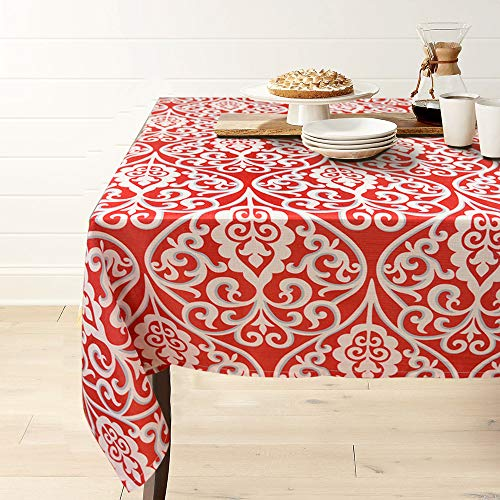 (Gravan Rectangle Polyester Tablecloth Vintage Printed and Spill Proof Table Cover for Home and Kitchen (Red and White, 60x120 Inch))