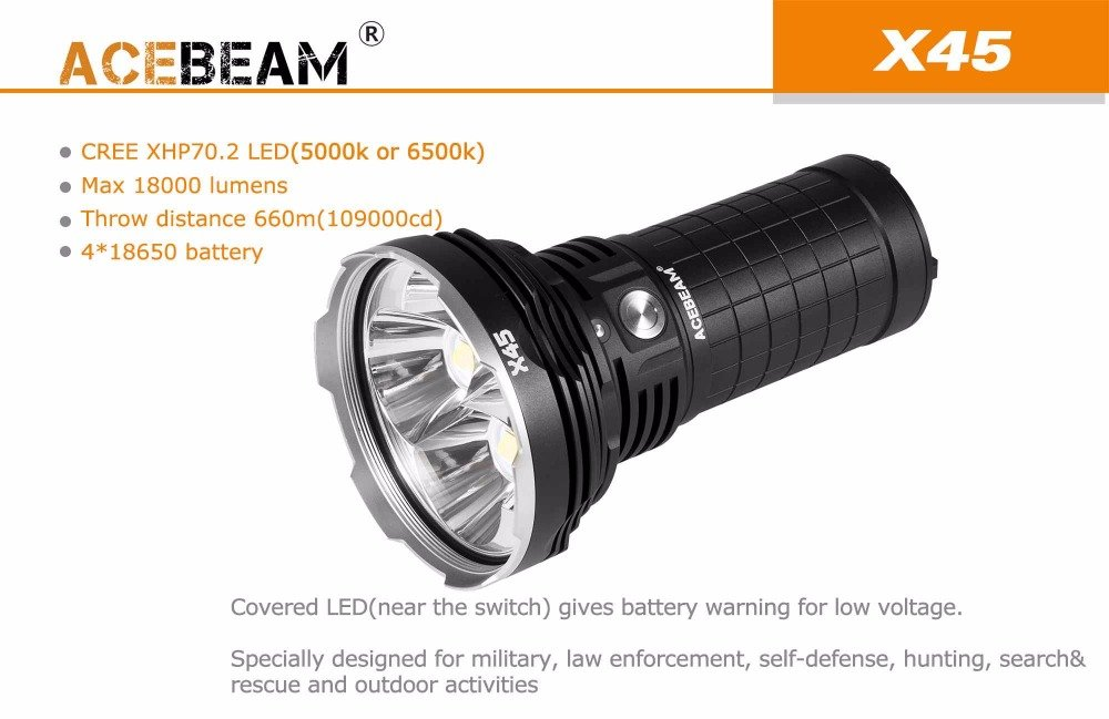 AceBeam X45 Flashlight 18000 Lumens LED Flashlights High Lumens LED Updated Version included Batteries by Acebeam (Image #2)