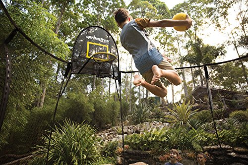 Springfree Trampoline - 13ft Jumbo Square Smart Trampoline With Basketball Hoop, Ladder, tgoma