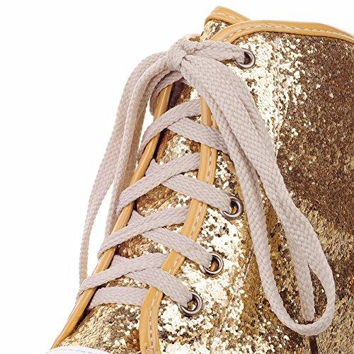 HiTime Zapatilla Alta de Material Sintético Mujer, Color Dorado, Talla 43 EU