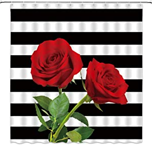 Black and White Stripe Shower Curtain Red Rose Flower Green Leaves Valentine's Day Present Creative Red White Black Bathroom Curtains Decor Polyester Fabric Quick Drying 70x70 Inches Include Hooks