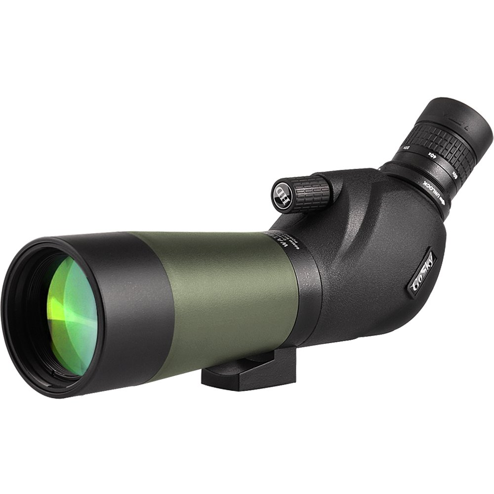 Gosky 20-60x60 Waterproof Spotting Scope -BAK4 Angled Spotting Scope for Bird Watching Target Shooting Archery Scenery - with Tripod and Digiscoping Adapter - Get The World into Screen by Gosky