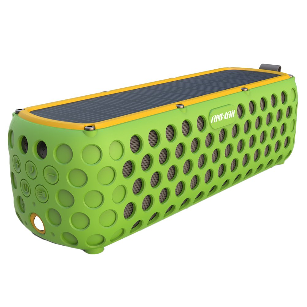 Solar Bluetooth Speaker with flashlight, Anwaii 30-Hour Playtime IPX5 Splashproof Superior Bass Sound Rugged Silicone Rubber Cover Outdoor Portable Wireless 4.0 Speaker (Green)