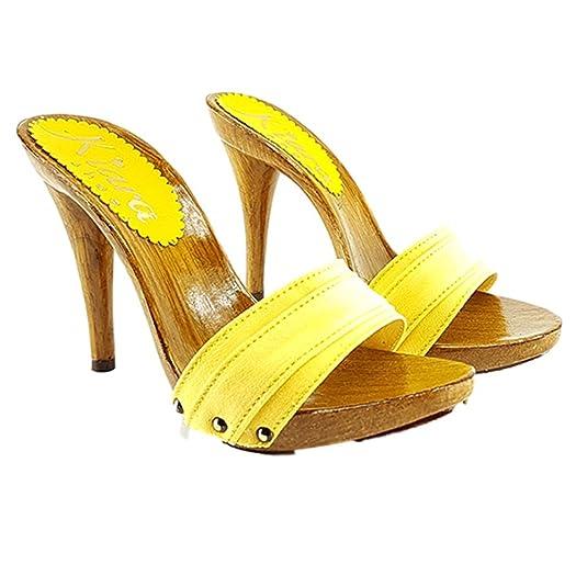 kiara shoes Km7101-giallo Damen Clogs  Pantoletten  gelb gelb 37