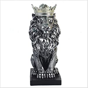 ZHUAN Crown Lion Sculpture Nordic Creative Home Furnishing Office Study Room Statue Ornament Decoration Gift (23 14 36CM),Silver