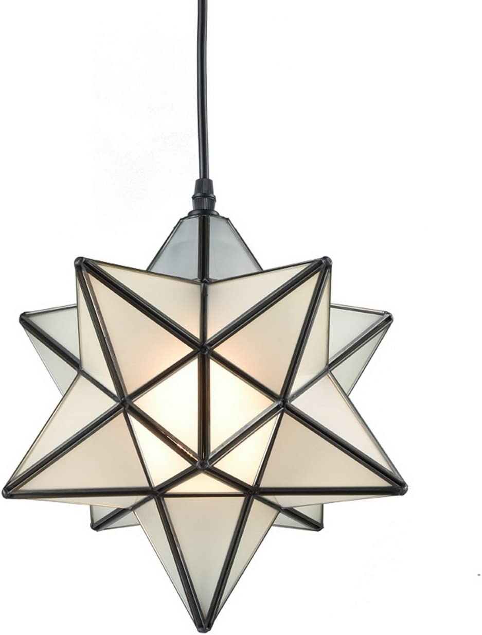 YOBO Lighting Star 1 Light Frosted Glass Pendant Kitchen Chandelier 12-inch