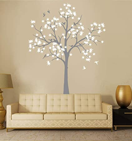 ce0fe33491d Amazon.com  N.SunForest Large Maple Tree Wall Decals Nursery Decor Forest  Vinyl Sticker with Bird for Bedroom or Any Room  Home   Kitchen