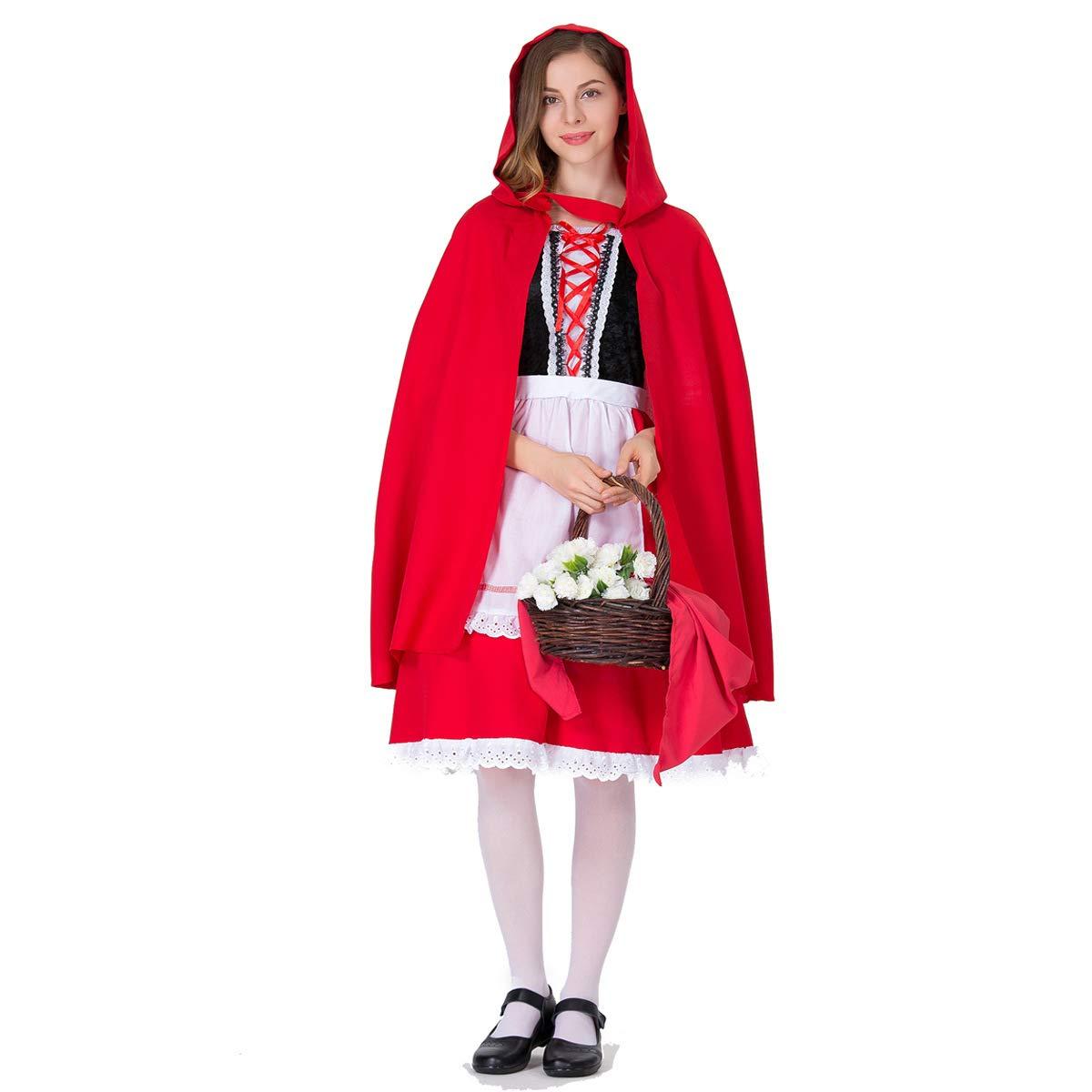 Halloween Cosplay Kostüm Adult Cosplay Rot Rotkäppchen Prinzessin Kleid Mit Mantel Kostümfest Kostüm Geeignet Für Karneval Thema Parteien B07HCYVRGY Kostüme für Erwachsene Glücklicher Startpunkt  | Haltbarkeit