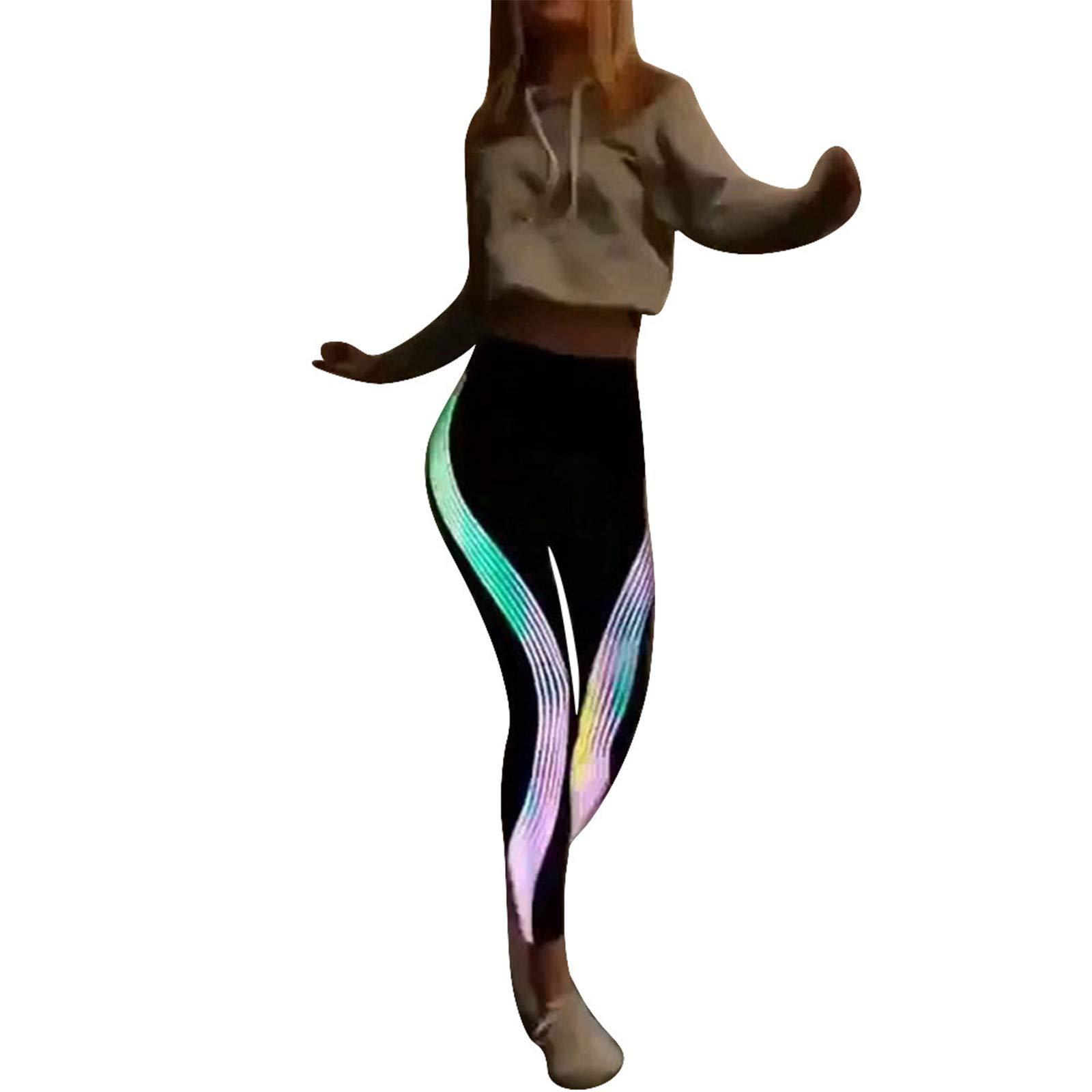 Zalanala Neon Rainbow Yoga Leggings, Women's High Waist Sports Running Pants Trousers Capris (Black, S)