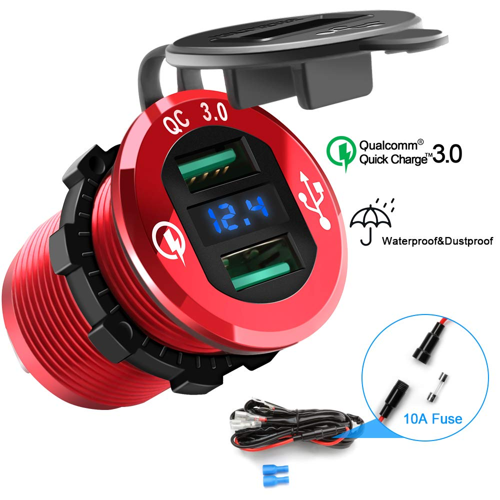 QC3.0 Smart Car Charger, 2 Socket + 3 USB (2xSmart USB Port & 1xQC3.0 USB Port) Multifunction Car Socket Splitter Adapter Built-in 10A Fuse for Smart Phones, Tablets, GPS, MP3 Players Opluz OPM230