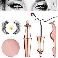 Magnetic Eyeliner With 3D Magnetic Eyelashes & Tweezers, Foonee Black Waterproof Magnetic Liquid Eyeliner For Use With Magnetic False Lashes