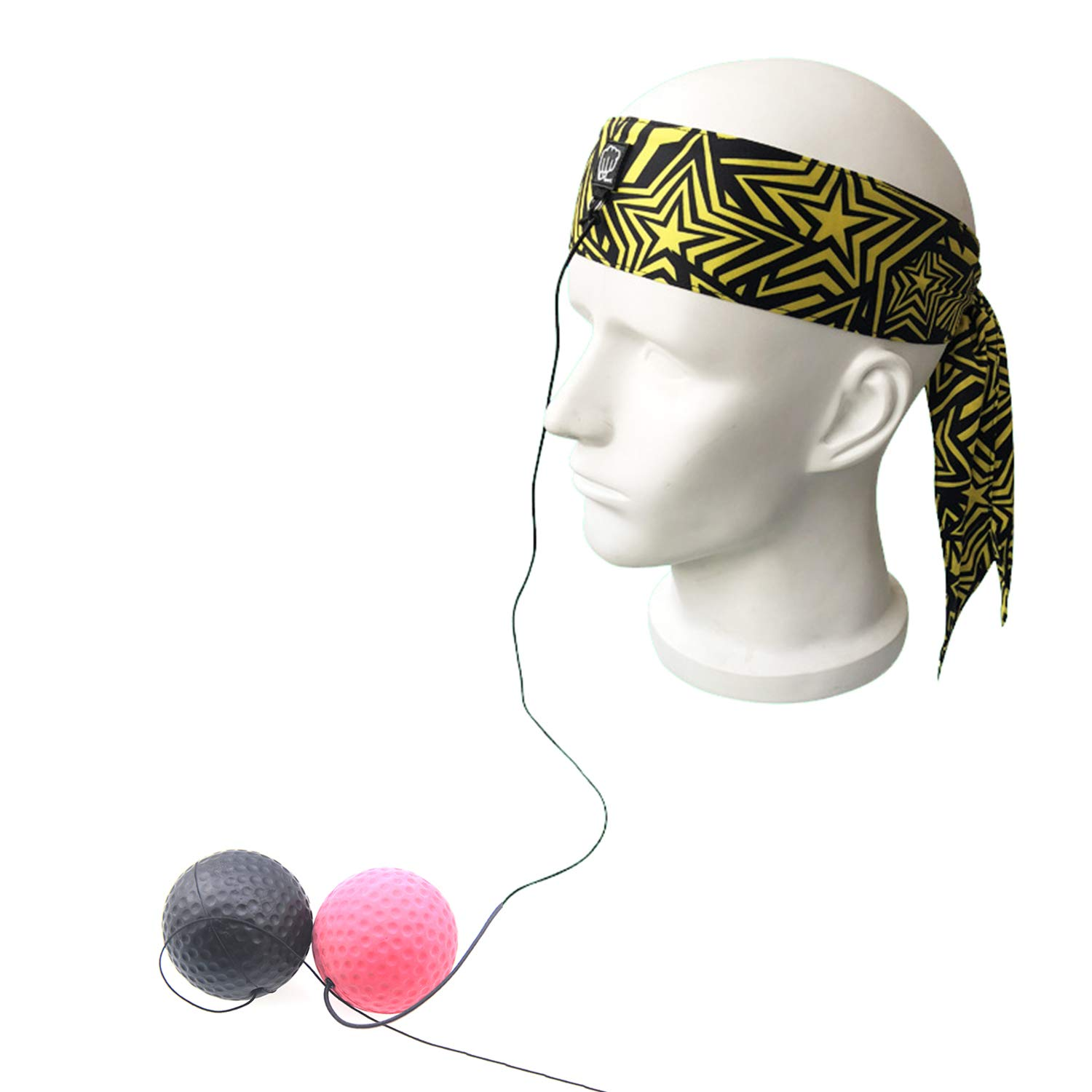 Boxing Reaction Reflex Speed Ball Adjustable Headband 2 Balls for Concentration Training Pressure Relax Focus Punching Bags Black Tavie