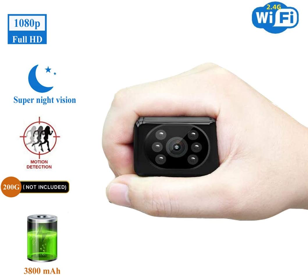 Spy Camera Wireless Hidden HD1080P WiFi Indoor Home Small Security Camera Portable Nanny Cam with APP Night Vision Motion Detection 155 Wide View Angle