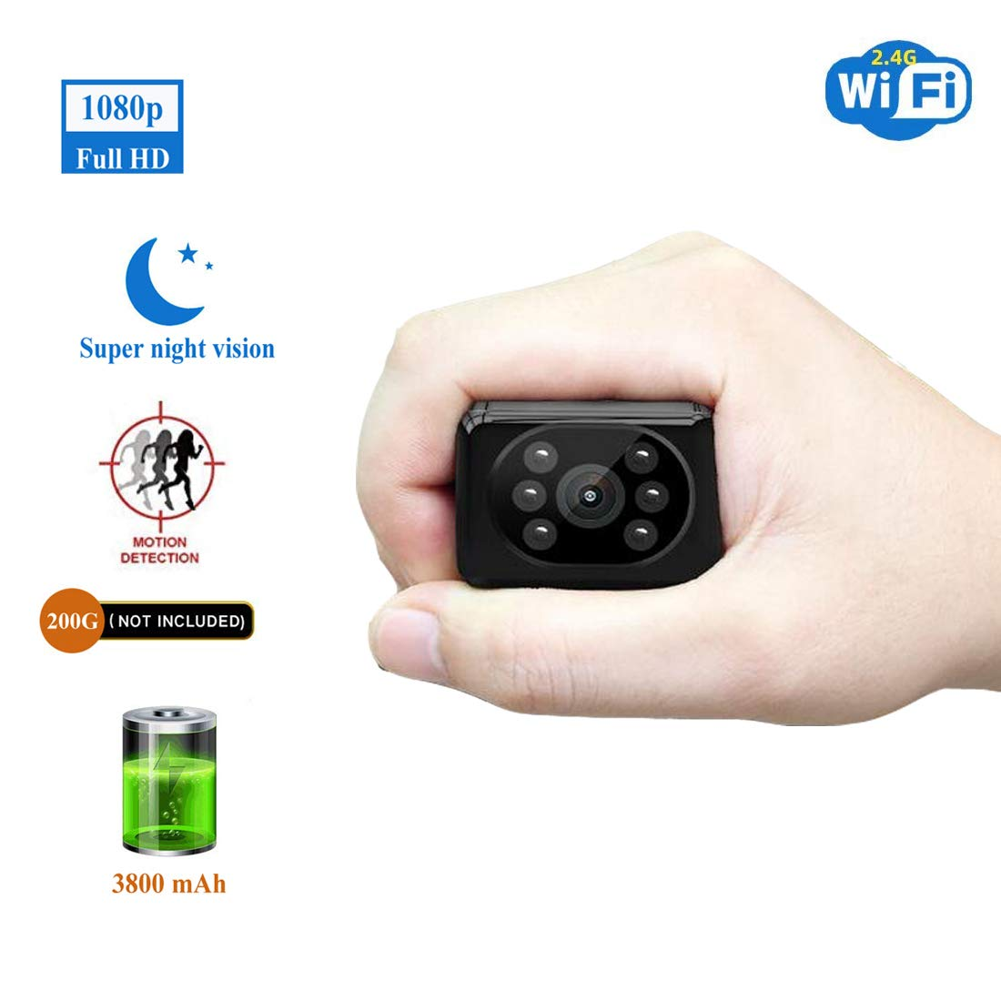 Spy Camera Wireless Hidden HD1080P WiFi Indoor Home Small Security Camera Portable Nanny Cam with APP Night Vision Motion Detection 155° Wide View Angle by Altocam