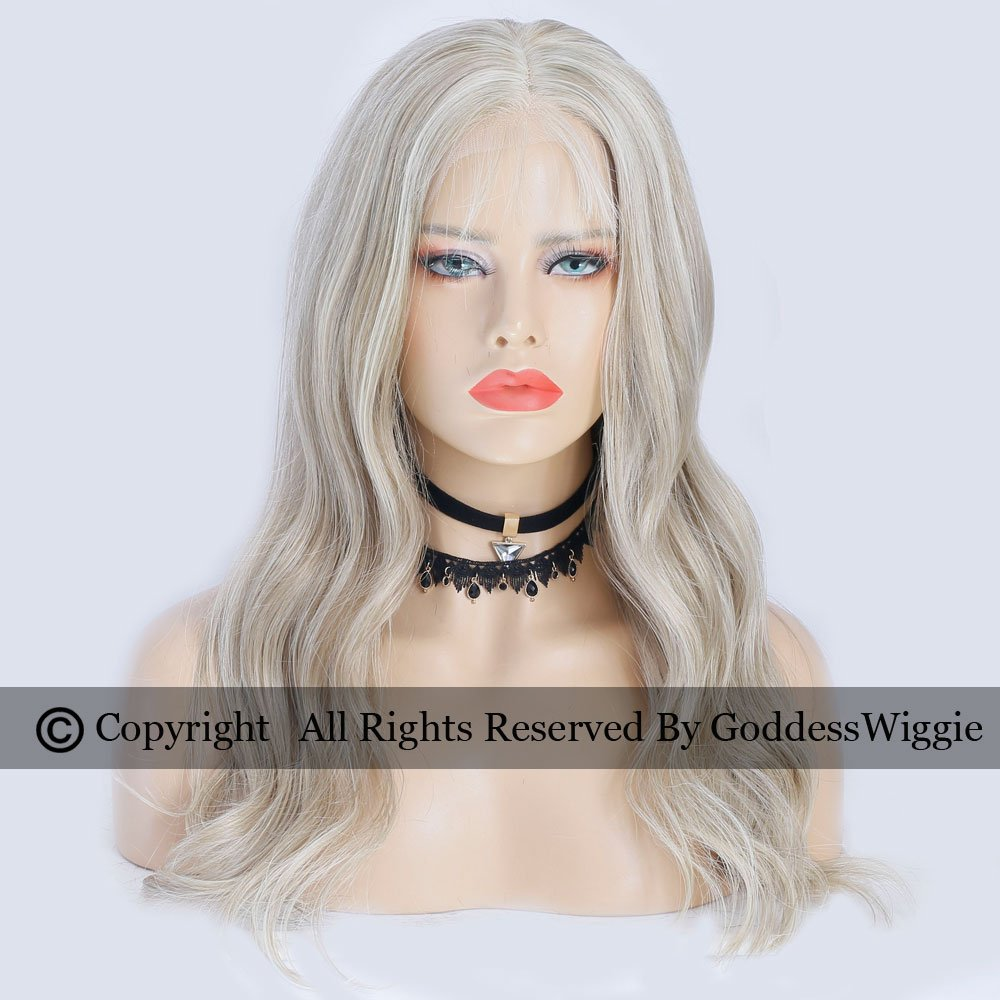 Goddess Wiggie Human Remy Hair Lace Front Ombre Wigs Blonde Human Hair Balayage Wigs Long Body Wavy Wigs For Women (18inch 150density)