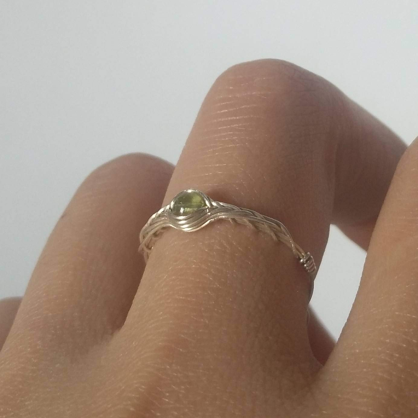 size12 Original Handmade 925 Sterling Silver Simple Peridot Ring By GRB ROY 5-12# available 1pc