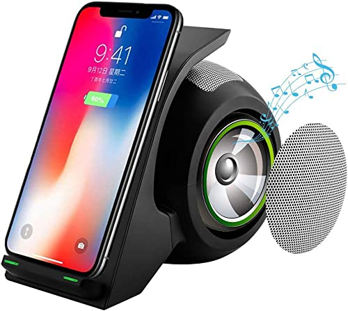 Bluetooth Speakers with Fast Wireless Charger Charging Station, Phone Stand Holder, 15W Deep Bass Stereo NFC Wireless Speaker for Android S8, S8plus S7, S7 Edge, iOS X, Xs, 8, 8plus