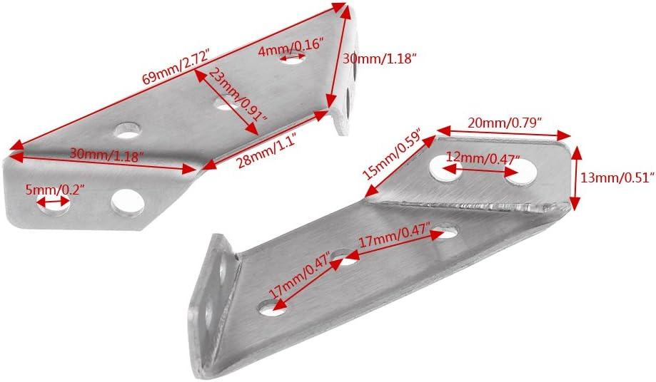 BIlinli 4PCS Soporte peque/ño de Acero Inoxidable Soporte de /ángulo Recto Soporte Fijo de Esquina