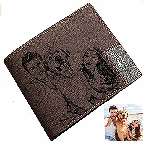 Personalized Custom Photo Wallet Engraved Picture Leather Wallet Father's Day Gift for Men Husband (Laser Engraved Pictures)
