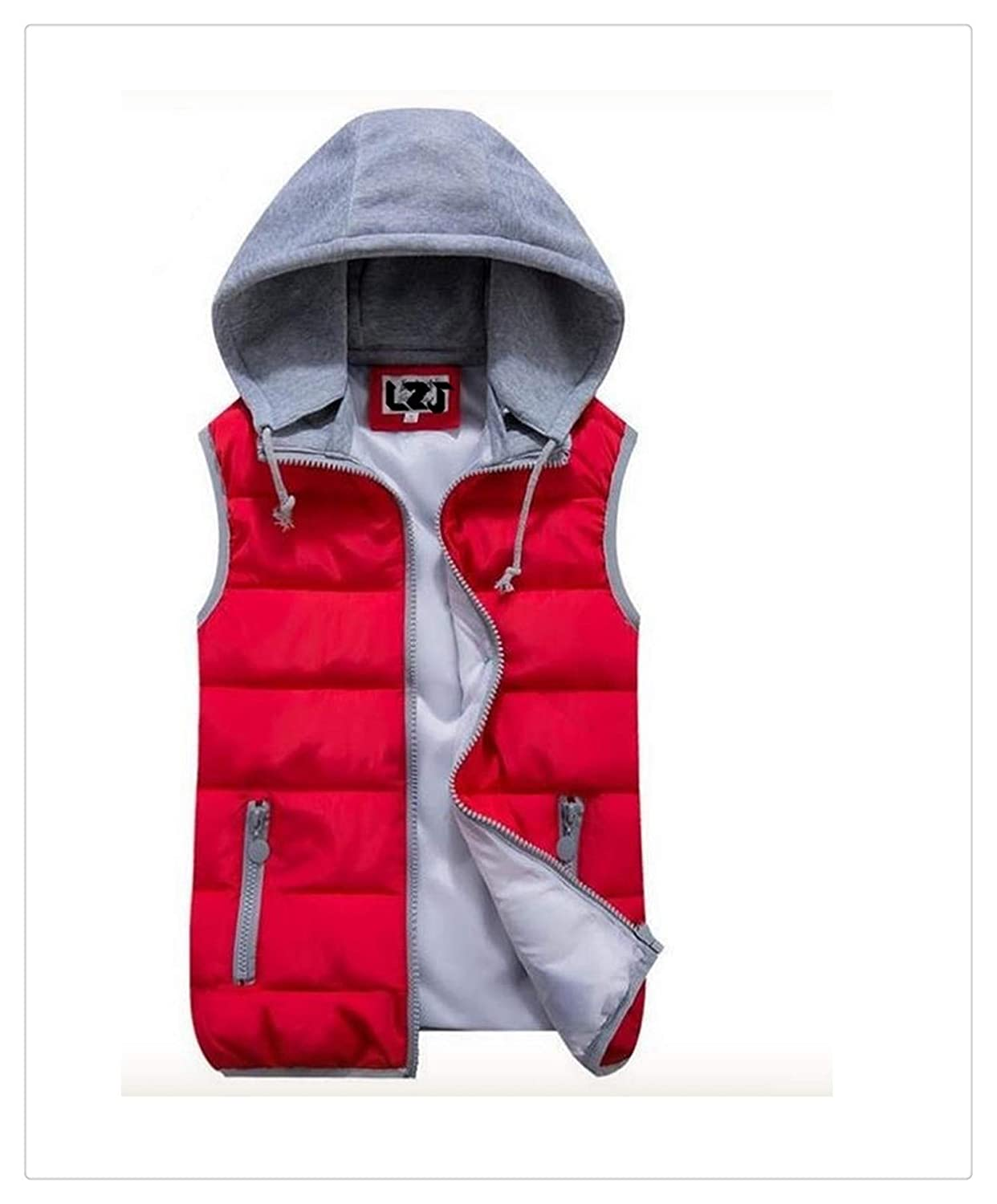 Uciquzhon Women Cotton Wool Collar Hooded Down Vest Removable Hat Female Thicken