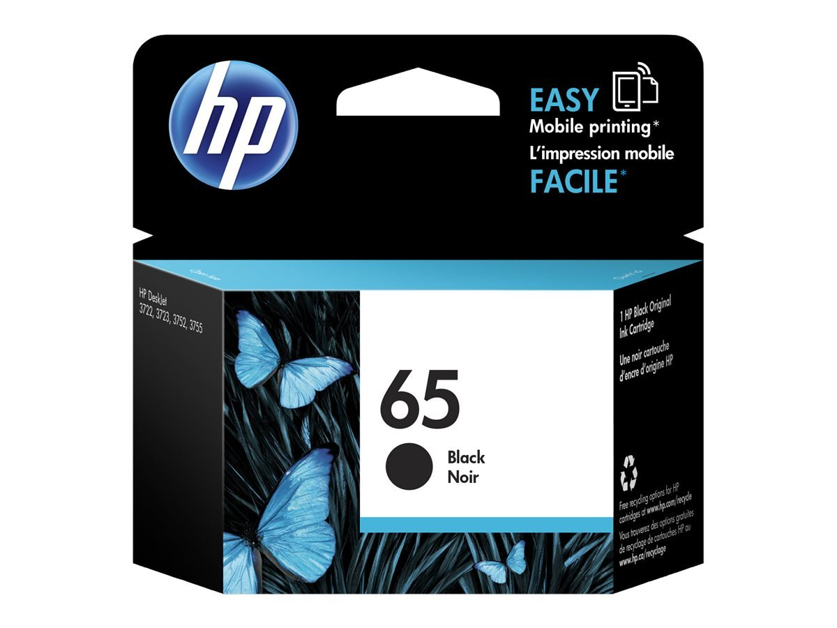 HP 65 Black Original Ink Cartridge (N9K02AN) for HP DeskJet 2624 2652 2655 3722 3752 3755 3758