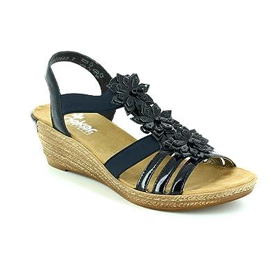 7e43b7c0f375 Rieker - Womens Softlack Navy Sandal With Flower Detail 62461-15 UK 6   EU