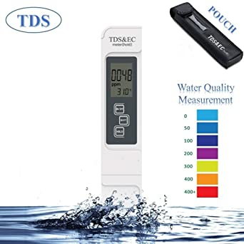 Digital TDS Meter EC Meter Ideal Water Quality Tester,Accurate Professional  3-in-1 TDS,EC,Temperature Meter with Carrying Case,0-9999ppm,for Drink
