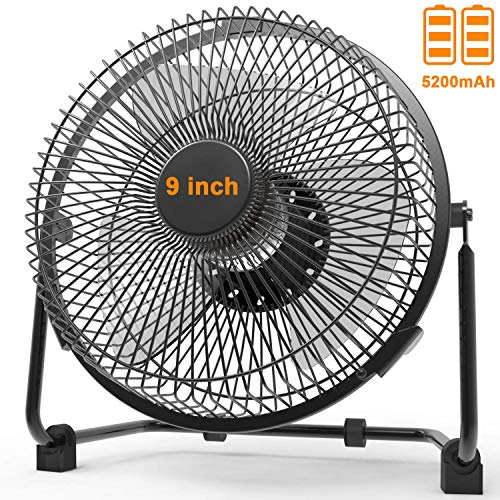 Battery Powered Fan with Metal Frame, 9 Inch Camping Fans Rechargeable, Battery Operated USB Fan with 5200mAh Rechargeable Battery, Quiet Personal Cooling Fan for Camping & Home&Office&Hurricane
