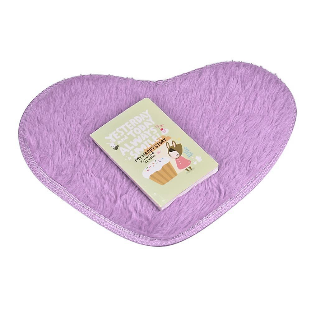 Clearance  Tuscom Super Soft Faux Fur Warm Hairy Sheepskin Heart Shape Area Rug,Non Slip Bedroom Bedside Rugs Floor Chair Cover,5.7 x 11.0''Modern Style Home Decoration(9 Colors) (Purple)