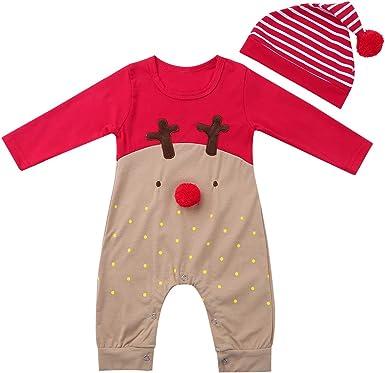 dPois Pelele Navidad Ciervos Bebé Niño Niña Recién Nacido Pijama Mono Manga Larga Ropa Infantil Navidad Reno Nariz Rojo Conjunto Body + Gorro ...