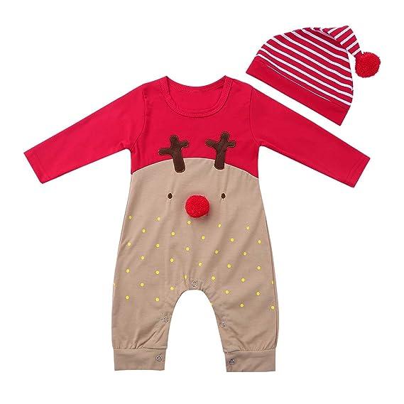 CHICTRY Pelele de Navidad Fiesta para Bebé Niño Niña Unisex Mameluco Rojo Manga Largas Mono Reno Infantil+Sombrero de Navidad Pijama Bebe Otoño Invierno: ...